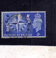 GREAT BRITAIN GRAN BRETAGNA 1951 KING GEORVE VI RE GIORGIO FESTIVAL OF BRITAIN 4p USATO USED OBLITERE' - Usati