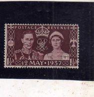 GREAT BRITAIN GRAN BRETAGNA 1937 CORONATION OF KING GEORGE VI AND ELIZABETH 1 1/2p USATO USED OBLITERE' - Usati