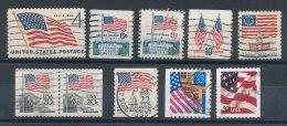 USA Petit Lot De 10 Timbres Drapeaux - Etats-Unis