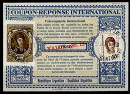 ARGENTINE / ARGENTINA 1973 London Type XVIu Reply Coupon Reponse Surcharged VALOR M$n. 12 / 1 Peso + 90 Pesos 2 Stamps - Interi Postali