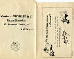 MICHELIN  = PUB Ancienne : Lettre Réponse Bureau D'itinéraires - Transportation