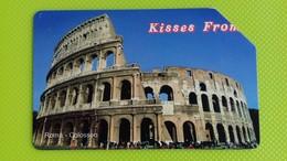 Scheda Telefonica KISSES FROM ROMA - Colosseo - Tiratura 305.000 - Usata - Italia