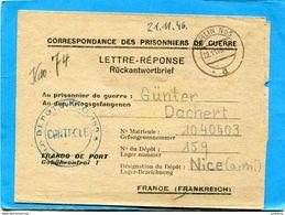 MARCOPHILIE Guerre 39-45 -berlin1946 -lettre Réponse à P G Allemand à Nice Dépot 159--controlée - Guerre De 1939-45