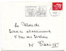 AUDE - Dépt N° 11 = CAPENDU 1969 = FLAMME Codée = SECAP  Illustrée GRAPPE De RAISIN 'Corbières - Minervois ' - Marcophilie (Lettres)