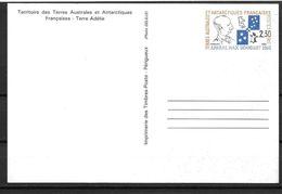 TAAF 1991 Entier Postal Carte Postale N° CP1 Avec Oiseaux, Manchots - Enteros Postales