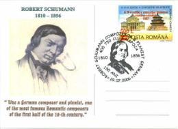 7218  Robert Schumann: Oblitération Temp. 2006, C.p. Commemorative - Romantic Composer Special Cancel From Romania - Musik