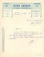 30 ROQUEMAURE 42 RIVE DE GIER Loire COURRIER 192. FRUITS PRIMEURS  REUS Frères REUS  Fruits Légumes  A44 - 1900 – 1949