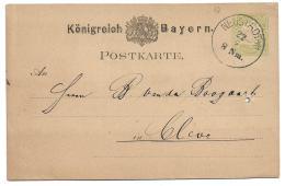 Bavaria Bayern (Germany) - Michel #17 Ganzsachen - Adolph Heck Printed Back - Neustadt To Cleve - Bavaria