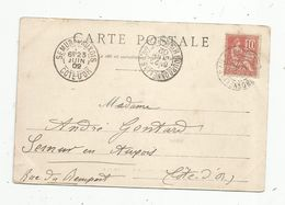 Sur Carte Postale , 1902 , BOURBONNE LES BAINS (Haute Marne) , SEMUR EN AUXOIS (Côte D'Or) , 2 Scans - Storia Postale
