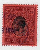 East Africa And Uganda Protectorate 20 Rupees Fine Used Stamp.  This Stamp Showing George V Was Issued In 1912. - Kenya, Uganda & Tanganyika