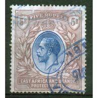 East Africa And Uganda Protectorate 5 Rupees Fine Used Stamp.  This Stamp Showing George V Was Issued In 1912. - Kenya, Uganda & Tanganyika