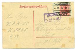Belgique/Allemagne - Zivilarbeiterpostkarte 10pf Du ZAB 30 N3285 KIV  Jan Segers Vers Gent  27 Mai Au 15 Juin 1917 - [OC1/25] Gouv. Gén.