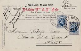 Carte Commerciale   Belgique Zele  Ets Philips Frères Et Soeurs  Verreries Cristaux, Porcelaines .2 X 50 C 1932 - Ganzsachen