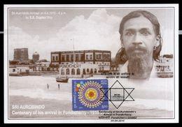 India 2010 Sri Aurobindo Arrival In Pondicherry Religion Max Card # 7839 Inde Indien - Religions