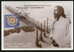 India 2010 Sri Aurobindo Arrival In Pondicherry Religion Max Card # 8053 Inde Indien - Religions