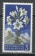 San Marino 1957. Scott #396 (M) Flowers' Lily And View Of San Marino * - Saint-Marin