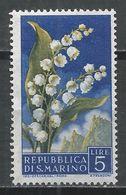 San Marino 1957. Scott #398 (M) Flowers' Lily Of The Valley And View Of San Marino * - Saint-Marin
