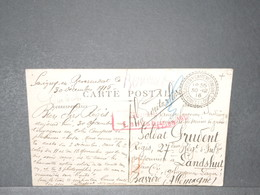 FRANCE - Carte Postale En FM Pour Un Prisonnier De Guerre En Bavière En 1916 - L 15747 - WW I