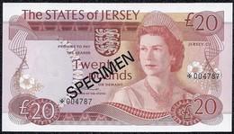 Jersey 20 Pounds 1976 Specimen MALTESE CROSS *UNC* Banknote - Jersey