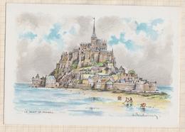 """8AK312 LE MONT ST MICHEL COTE SUD Dessin Illustrateur Ed BARRE DAYEZ  """"2014 G  """" 2 SCANS - Le Mont Saint Michel"""