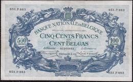 Belgium, 500 Francs 1927 *VF* Currency Banknote - Belgique