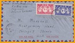 1947 - Guyane Française - Enveloppe Par Avion De Cayenne Vers Chicago, USA - Affranchissement 19 Francs - Guyane Française (1886-1949)