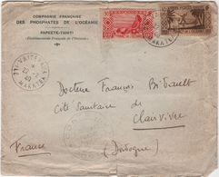 Marcophilie Lettre Compagnie Française Des Phosphates De L'Océanie Vaitepau MAKATEA Papeete Tahiti Controle - Tahiti (1882-1915)