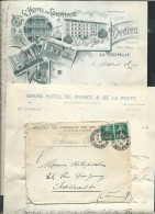 Env Hotel De France Et De La Poste , Rochefort  1911, Contenant 2 Lettres Entete Gr Hotel Commerce La ROCHELLE Af27206 - Storia Postale