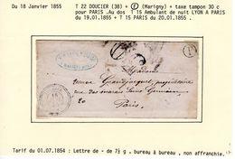 JURA : T 22 DOUCIER + Boite Rurale F ( Marigny ) + Taxe DT 30 Sur LSC En 1855 ( Indice 16 ) - Marcophilie (Lettres)