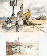 LOT DE 3 CARTES AQUARELLES ORIGINALES DE ROBERT LEPINE ACHAT IMMEDIAT - Künstlerkarten