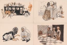 Bn - Lot De 10 Cpsm Grand Format Illustrées R. IRRIERA - Scènes Et Types (musiciens, Chausseur, Café, Devineresse, Creme - Illustratori & Fotografie