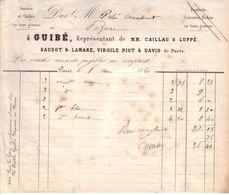 PARIS - SOIERIES ET CHÂLES - GUIBE, REPRESENTANT DE M.M. CAILLAU & LUPPE , BAUDOT & LAMARE , VIRGILE PIOT & DAVID - 1861 - France