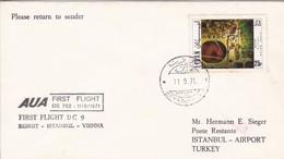 LEBANON. AUA FIRST FLIGHT DC9 BERUIT ISTANBUL VIENNA.-TBE-BLEUP - Libanon