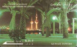 CARTE-MAGNETIQUE-ASIE-KOWEIT-KD5-KUWAIT TOWERS-V° Avec  En Bas SATLINK LTD-BE - Kuwait