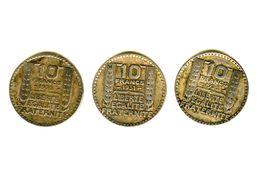Monnaie De 10 Francs Argent Turin Lot De 3  2x 1930 Et 1x1931 - K. 10 Francs