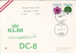 SINGAPORE. INAUGURAL FLIGHT KLM SINGAPORE VIENNA KL 832 DC8-TBE-BLEUP - Singapore (1959-...)