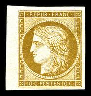 * N°1, 10c Bistre, Bord De Feuille Latéral, Très Jolie Pièce. SUP. R. (signé Brun/certificat)   Qualité: *   Cote: 3000  - 1849-1850 Cérès
