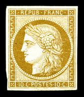 * N°1, 10c Bistrejaune, Frais, TTB. R (signé Brun/certificats)   Qualité: *   Cote: 3000 Euros - 1849-1850 Cérès
