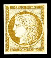 * N°1, 10c Bistrejaune, Jolie Pièce. TTB (signé Calves/certificat)   Qualité: *   Cote: 3000 Euros - 1849-1850 Cérès