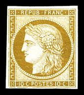 (*) N°1, 10c Bistrejaune. TB (signé Calves/certificat)   Qualité: (*)   Cote: 900 Euros - 1849-1850 Cérès