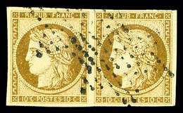 O N°1, 10c Bistrejaune En Paire Horizontale, TTB (signé Brun/Margues/certificat)   Qualité: O   Cote: 825 Euros - 1849-1850 Cérès