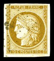 O N°1, 10c Bistre, Belles Marges Et Oblitération Légère. TTB (signé Calves)   Qualité: O   Cote: 355 Euros - 1849-1850 Cérès