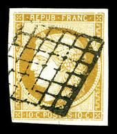 O N°1, 10c Bistrejaune Obl Grille. TB   Qualité: O   Cote: 355 Euros - 1849-1850 Cérès