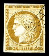 O N°1, 10c Bistrejaune Obl Grille Légère. TTB (signé Calves)   Qualité: O   Cote: 340 Euros - 1849-1850 Cérès