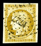 O N°1, 10c Bistrejaune Obl PC '1727'. TB (signé Margues)   Qualité: O   Cote: 355 Euros - 1849-1850 Cérès