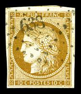 O N°1, 10c Bistre Obl Pc '638'. TB (signé Scheller)   Qualité: O   Cote: 355 Euros - 1849-1850 Cérès