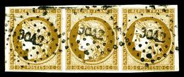 O N°1a, 10c Bistrebrun Foncé, Bande De Trois Avec Un Voisin. SUP (certificat)   Qualité: O   Cote: 1950 Euros - 1849-1850 Cérès