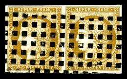 O N°1a, 10c Bistrebrun En Paire Obl Gros Points Carrés. TTB (certificat)   Qualité: O   Cote: 1050 Euros - 1849-1850 Cérès
