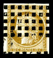 O N°1a, 10c Bistrebrun Obl Gros Points. TTB (certificat)   Qualité: O   Cote: 450 Euros - 1849-1850 Cérès