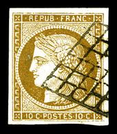 O N°1a, 10c Bistrebrun Foncé, Jolie Nuance. TTB (signé Brun/certificat)   Qualité: O   Cote: 450 Euros - 1849-1850 Cérès
